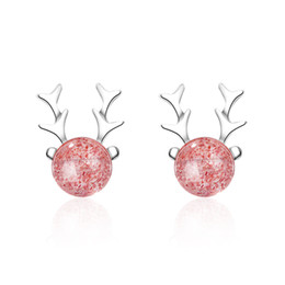 Strawberry jewelry silver online-Sweet Strawberry Crystal Antler Ohrringe 925 Sterling Silber Weihnachtsschmuck für Frauen Mädchen boucle d'oreille S-E651