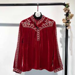 2020 pullover di tessuto Chic Colore Red Velvet Fabric signora Casual Blouse Tops completa maniche ricamo di buona qualità signora Shirt Pullover Abbigliamento sconti pullover di tessuto