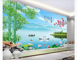landscape photo painting hd Promo Codes - Customized 3D photo mural wall paper Jiangnan rhyme bamboo landscape painting Chinese style HD TV background wallpaper for walls 3d