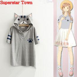 ropa mori Rebajas neko atsume Estilo de verano Mujeres Tops Anime Kawaii Cat Shirt Neko Atsume School Clothes Kawaii Mori Girl Tee Roupas Superstar Town