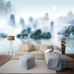 2019 papier tinte kunst Chinesischen Stil Tinte Landschaft Wandbild Tapete 3D Wohnzimmer Schlafzimmer Hintergrund Wanddekor Papel De Parede Sala 3D Kunst Tapeten rabatt papier tinte kunst