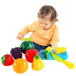 Кухонная игрушка для детей онлайн-Family Game Children Kitchen Fruit Vegetables Toy Cutting Set Kids Pretend Role Play Gifts