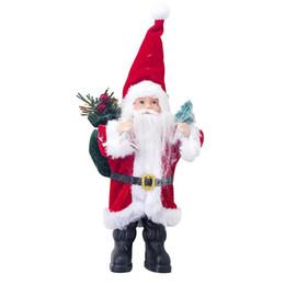 decorazioni natalizie di babbo natale Sconti 2019 Decorazione di Buon Natale Babbo Natale Bambola Ornamento Collezione di figurine Tradizione permanente Tabel Decor Rosso Nero con albero