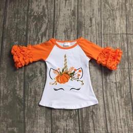 2019 camiseta da luva do ruffle Meninas da criança Unicórnio Plissado Top Halloween Manga Comprida Roupas de Bebê Princesa Menina Unicórnio Partido Tshirt de Algodão D0927 camiseta da luva do ruffle barato