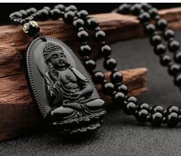 natürliche jade anhänger buddha Rabatt Buddha Anhänger natürlichen Obsidian Vintage Halskette schwarz Buddha Kopf Anhänger für Frauen Jade Schmuck