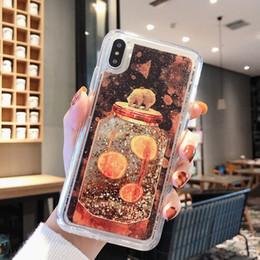 niedlicher bärntelefonkasten Rabatt Cute bear gedruckt muster weichen tpu flüssigkeit glitter telefon abdeckung case für iphone x 6 7 8 plus