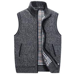 2020 colete de malha grossa Cor sólida, mais de veludo quente Cardigan Vest além do tamanho de meia-idade Homens Thick Casual malha Vest colete de malha grossa barato
