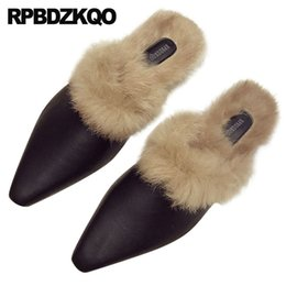 504ebbff8716a fuzzy chinese 5 flat ladies leather autumn slippers fluffy real fur  designer shoes women luxury 2018 slides fashion korean black