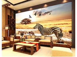 3d adesivi aquila online-Papel de parede Personalizzato 3d foto murale carta da parati home decor Africa steppa zebra aquila sfondo muro adesivo Wallpaper per pareti 3d