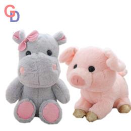 Super Soft Bow graue Flusspferde Gefüllte Tiere Puppe weichem Plüsch rosa Schwein Glowing Pailletten Füße Baby beschwichtigen Spielzeug Mädchen schlafen Puppen von Fabrikanten