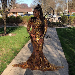 Mädchen robe größe 12 online-Gold Pailletten Spitze Plus Size Mermaid Prom Dresses 2019 Lange Ärmel Afrikanischen Stil Abendkleider Robe De Soiree Black Girls