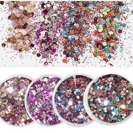 2019 cosméticos caixa mista 1 Caixa (10 ML) Metallic Glitter - Glitter Cosméticos Para Tatuagem / Olhos / Lábios Nail Art Mixed Glitter Metálico / Fina, MA01-008