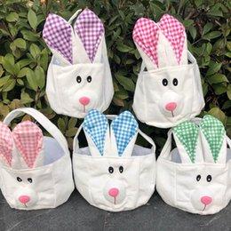 Cestini di stoccaggio carino online-Easter Bunny Baskets cartone animato carino Coniglio orecchie lunghe Borse Coniglietto scozzese Custodia stampata Confezione regalo pasquale 5 colori MMA1324