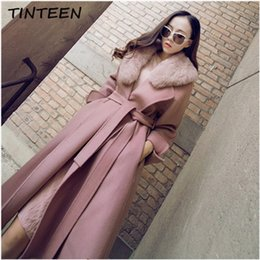 face slimmer belt Coupons - TINTEEN new arrival 2019 belted long handmade 100% double faced wool cashmere coat With Natural Fox Fur Collar women Coat GC665
