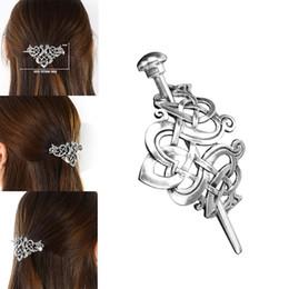 Cabelo, pino, prata, vara on-line-Viking Antique Silver Hair Stick Retro Knot Long Hair Pin Clip Acessórios para festa de casamento Prom