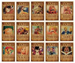 2019 refrigeradores medianos Luffy One Piece Wanted Poster Anime One Piece Wanted Poster Vintage Poster Papel Kraft Pintura Decorativa Carteles de Papel Etiqueta de La Pared Zoro