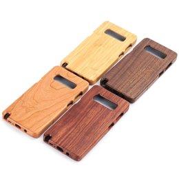 Étui cerise pour samsung en Ligne-Pour Samsung Galaxy Téléphone 100% Véritable En Bois Naturel Cas De Téléphone Noyer Cerise Bambou Palissandre En Bois De Protection Cas Couverture