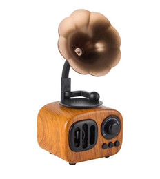 super mobile phones Promo Codes - 2019 AS90 Wooden Retro Phonograph Bluetooth Speaker Literary Subwoofer Mini Wireless Classical Speaker Super Bass Stereo Speakers DHL