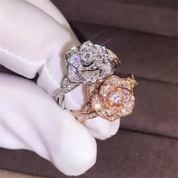 Fidanzamento di anelli di fiori rosa online-Femminile di cristallo d'argento in oro rosa anello di fidanzamento del partito anello dell'annata disegno del fiore grande Rosa lusso Anelli fascia di nozze per le donne