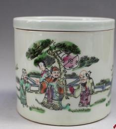 Daqing Tongzhi figuras en colores pastel latas Jingdezhen antigüedades antiguas colecciones populares de porcelana adornos divertidos desde fabricantes
