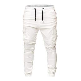 Модный галстук онлайн-новые мужчины связали брюки-карго лодыжки моде человек slim fit повседневные брюки карандаш боковые карманы гарем досуг твердые брюки горячие