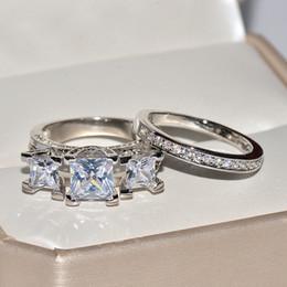 Cz schmuck set china online-925 silber Weiß Braut Hochzeit Ring Set Modeschmuck Versprechen CZ Stein Verlobungsringe Für Frauen