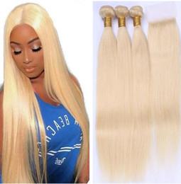 Armadura del pelo rubio ruso online-Ruso de la armadura del pelo rubio paquetes 613 paquetes con el encierro brasileño virginal recta de pelo lía con cierre