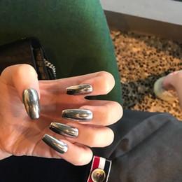 2019 гвозди новый стиль милый Американский панк стиль новый металл дымчатый серый чистый цвет балет накладные ногти средний-длинный размер леди полный советы ногтей симпатичные поддельные ногти скидка гвозди новый стиль милый