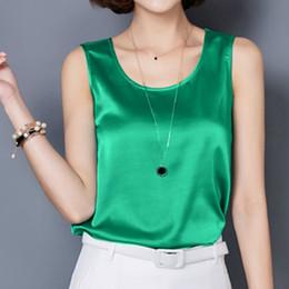 donne bianche della maglia di seta Sconti Serbatoi ad alta raso elastico imitazione seta Strap Vest T-shirt estate Gilet Streetwear Top di donne sexy di modo della maglia Rosa Bianco