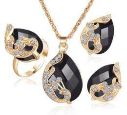 Ожерелье из невесты павлина онлайн-Ювелирные наборы 5 Цвет Кристалл Павлин ювелирные наборы невесты свадебное ожерелье серьги Ohrringe кольцо набор parure bijoux femme