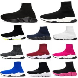 flooring concrete Promo Codes - Fashion designer shoes Speed Trainer Sock Shoes men women Triple Black White Red Glitter Volt mens trainers runners casual Sports Sneakers 3