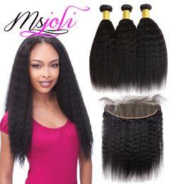 cheveux bouclés humides non transformés Promotion Vison Brésilien Virgin Kinky Straight / Curly Bundles avec frontale Wet et Wavy 3 Bundles non traitées Armure de cheveux humains avec dentelle Frontale
