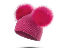 Cappelli di lana per neonati online-Berretto a maglia per bambini Berretto in lana super large a doppia sfera Berretto in lana per neonato Bimba calda Berretto invernale