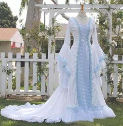 2019 vestido celta barato Celtic Vintage vestidos de casamento marfim e azul pálido colorido medieval vestidos de noiva colher espartilho mangas compridas apliques Custom Made baratos vestido celta barato barato