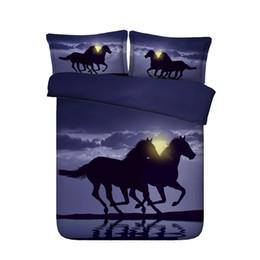 Bettdecke bettdecke online-3 Stück Pyramide Bettwäsche Set mit 2 Kissen Shams Aquarell Tagesdecke Bettbezug Moon Tröster Cover 3D Bettbezug Set Laufpferde