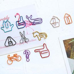 2019 bicicleta de papel 18 unids / lote Clip de Papel de Metal Creativo Ballena Gato Clips de Bicicleta Animal Lindo Marcador Oficina Útiles Escolares Novedad Papelería bicicleta de papel baratos