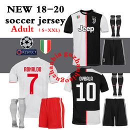 Conjunto completo de jersey online-2018 2019 2020 mejor calidad Juventus juve Jersey kit juegos completos + calcetines camisetas HIGUAIN DYBALA Ronaldo camisetas de fútbol en casa