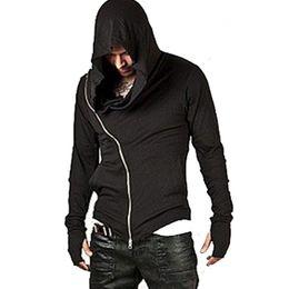 Cooler umhang online-Hoodie Strickjacke Männer Mantel Lange Hoodies Sweatshirt Männlich Langarm Reißverschluss Solide Assassins Creed Baumwollmäntel Cool
