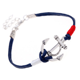 fishing bracelets for men Coupons - Anchor Braided Charm Bracelets for Women Girls Boys Fashion Vintage Silver Alloy Navy Blue Handmade Rope Chain Men Jewelry Bracelets Bangles