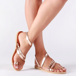 Туфли на высоком каблуке онлайн-Thong Sandals Summer Women Flip Flops Weaving Casual Beach Flat Shoes Rome Female Sandal Low Heels Slippers sandalias mujer 2019