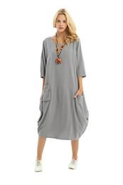 Vestiti di lino sciolti online-Anisize Soft Linen Lantern Loose Dress Primavera Estate Autunno Taglie forti Abbigliamento Y19