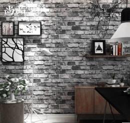 vinyl-ziegel-tapeten Rabatt Vintage 3D Brick Stein Vinyltapete kreatives PVC Feuchtigkeitsbeständig vergussdichtes Alte Tapeten Restaurant Wohnzimmer-Dekor-Wand-Papier