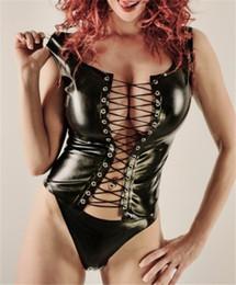 Offene büste aus leder online-Dessous Sets Sexy Kunstleder Unterwäsche PVC Teddy Frauen Erotik Bandage Kostüme Open Bust Teddies Bodysuits Korsetts Bustiers