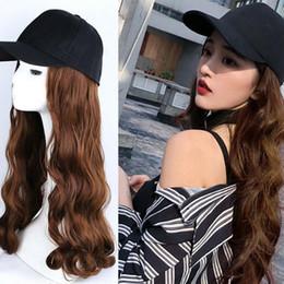 Volle kappe wellenförmige perücken online-Cap Wig Hat Volle lange wellenförmige lockige Cosplay Frauen Halloween-Partei-Verein-Haar