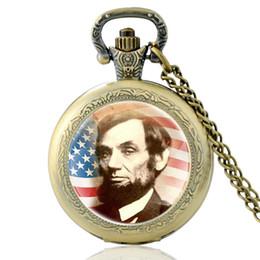 часы Скидка Урожай президент Соединенных Штатов Америки Авраам Линкольн карманные часы бронзовые Мужчины Женщины кварцевые часы ожерелье ювелирные изделия