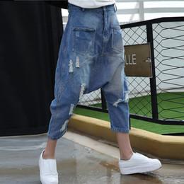 Frauen Baggy Denim Pluderhosen Tun Alten Stil Low Drop Crotch Jeans Hip Hop Straßentanz Amerikanische Hose Plus Size Joggers 1666 von Fabrikanten
