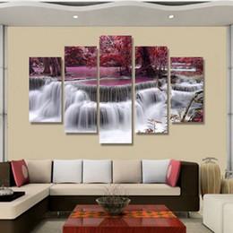 Cachoeiras lona de óleo on-line-Pintura em Spray Moderno Pintura Decorativa Pintura A Óleo Da Lona Do Hotel Fresco Cinco Dísticos Florais Cachoeira Restaurante Fresco Decorativo
