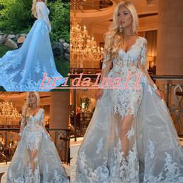 Lange blaue tüll applique kleider online-Langarm Blue Lace Mermaid Abendkleider Sexy V-Ausschnitt Applique Tüll Formale Celebrity Dress Overskirts Arabisch Abendkleid Robe de soiree