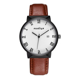 Calendario ultra delgado Reloj de cuero Relojes de cuarzo casual para hombre Reloj de pulsera Sencillez Alta precisión Accesorios de joyería para la muñeca desde fabricantes