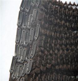 бразилец вьющиеся волосы черные как смоль Скидка Jet Black Color Бразильский Kinky Curly Virgin Clip In Наращивание волос 100% Наращивание человеческих волос 9 штук / комплект 100 г / комплект